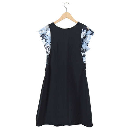 Phillip Lim Black Short Dress with Blue Guipure Lace Trim - M