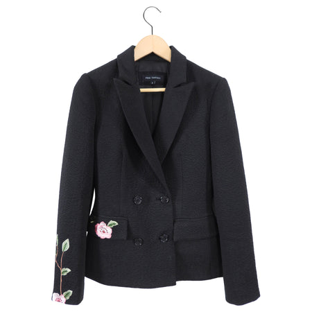 Pink Tartan Black Blazer with Pink Floral Embroidery - 2