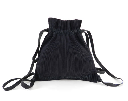 Issey Miyake Pleats Please Black Drawstring Pleated Backpack Bag