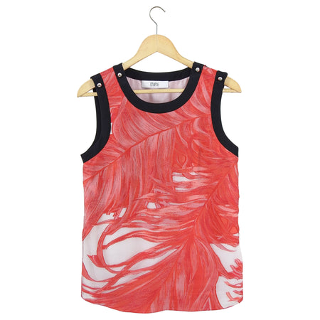 Prabal Gurung Red and White Jacquard Sleeveless Top - 6