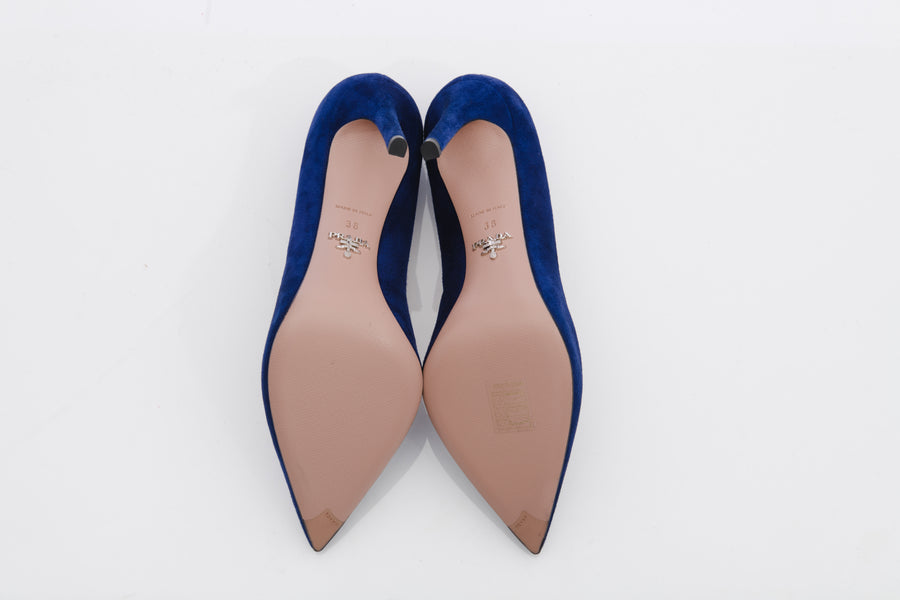 Prada Cobalt Blue Suede Pumps