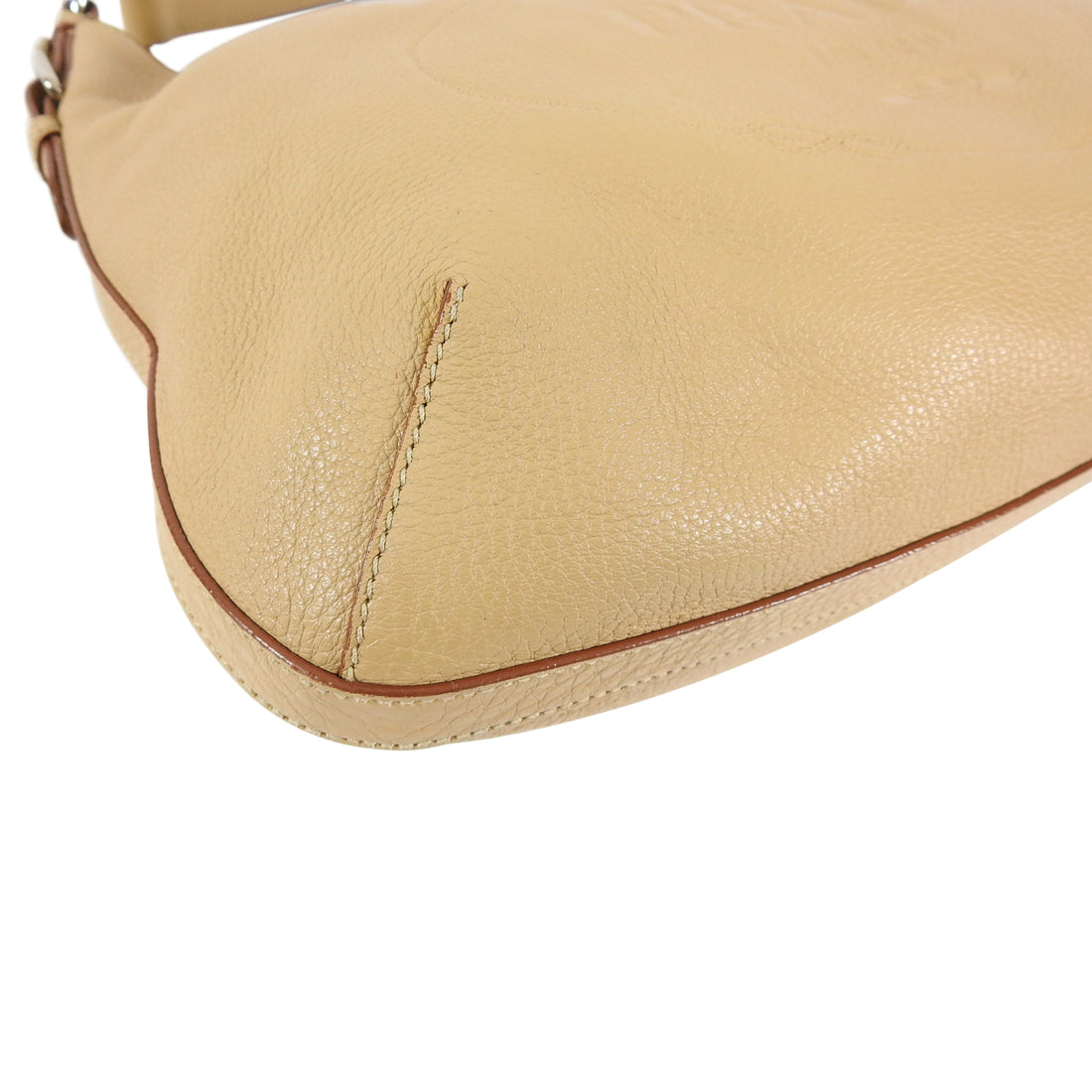 Prada Beige Logo Imprinted Leather Hobo Shoulder Bag