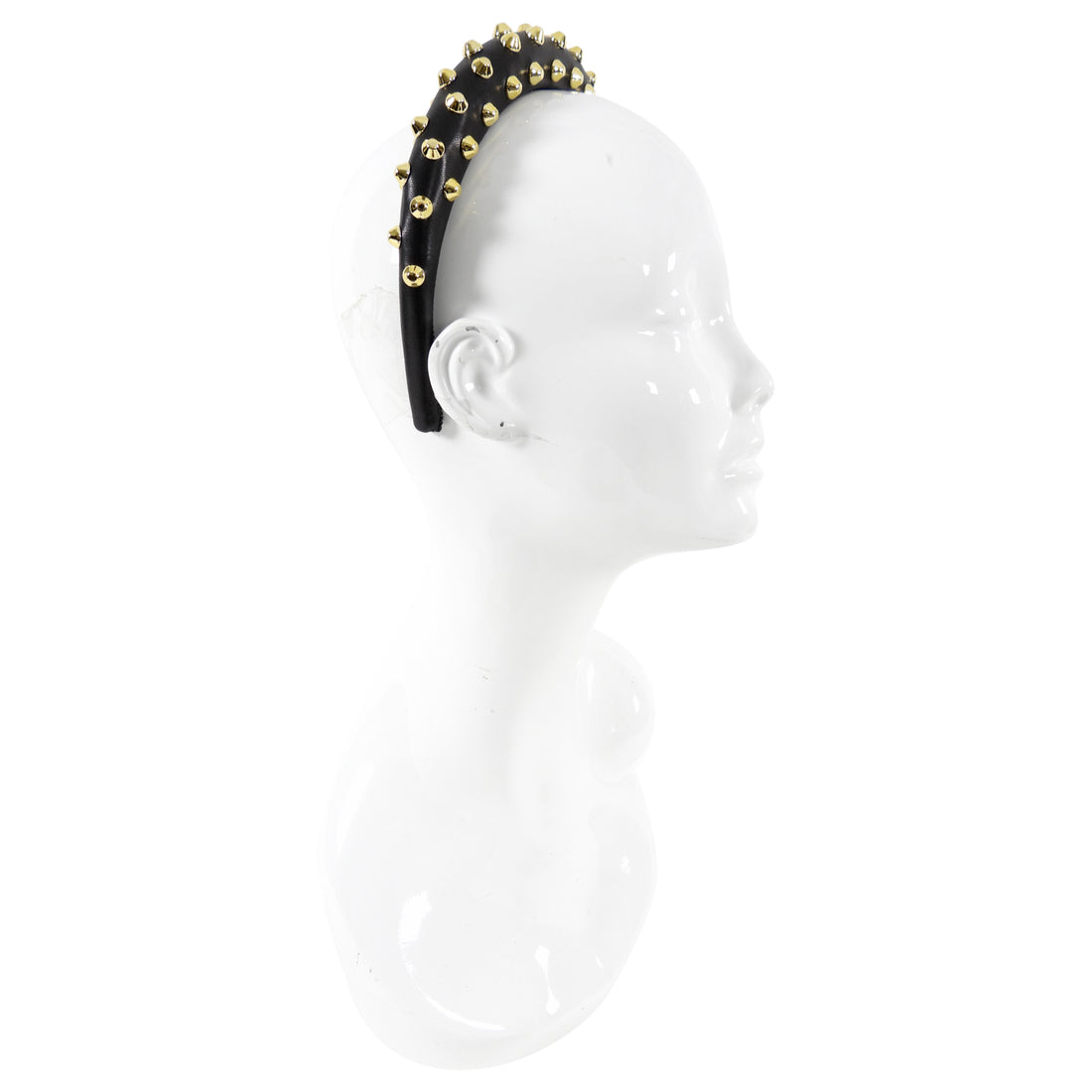 Prada Black Nappa Gold Stud Leather Headband