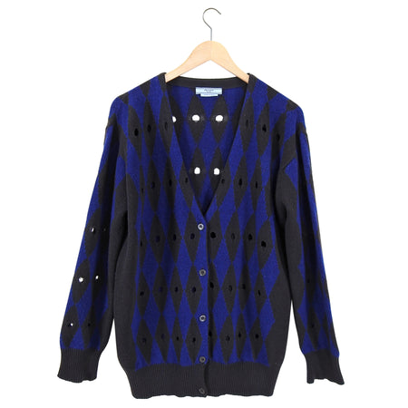 Prada Blue Brown Diamond Pattern Cardigan - M