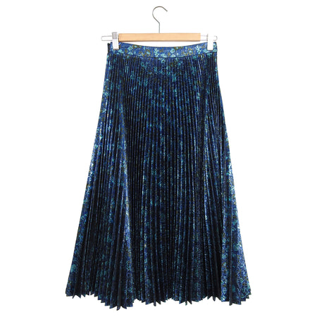 Prada Blue Metallic Lame Pleated Midi Skirt - 38 / 2