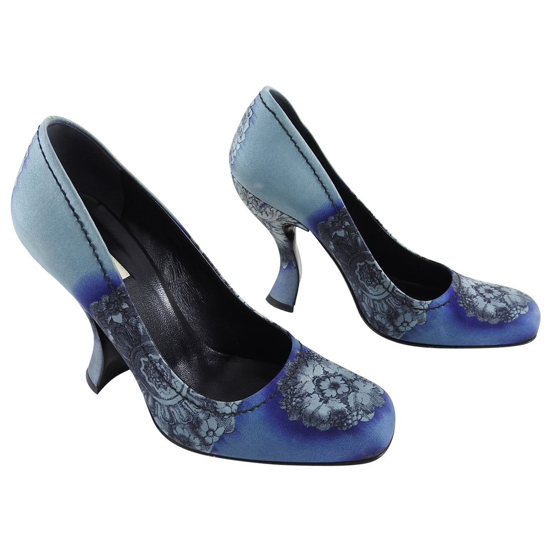 Prada Fall 2004 Vintage Blue Fabric Curved Heel Pumps