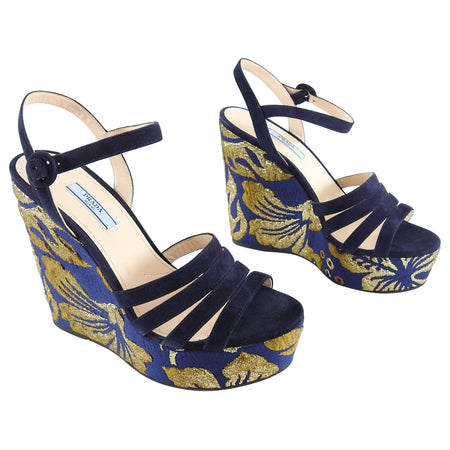Prada Navy and Gold Suede Brocade Wedge Sandals - 40