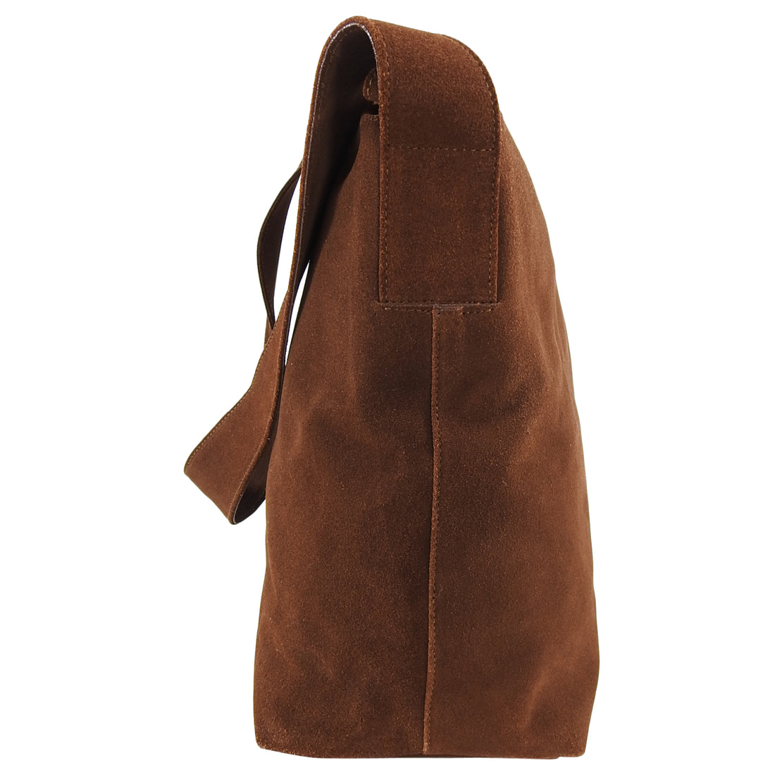 Prada Brown Suede Logo Shoulder Shopper Bag