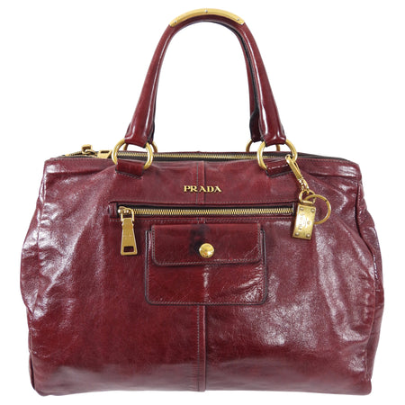 Prada Burgundy Leather Double Zip Large Tote Bag