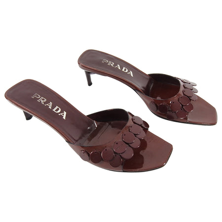 Prada Vintage Burgundy Patent Low Heel Mules with Pailettes - 37.5