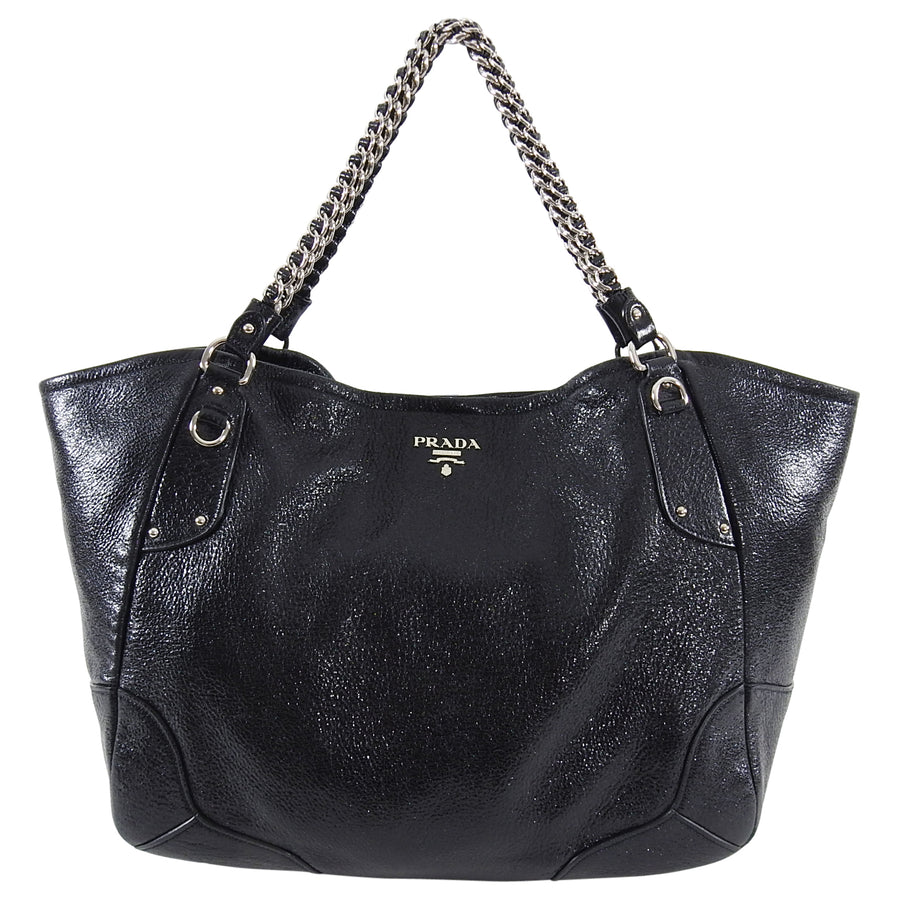 Prada Cervo Lux Black Large Chain Shopping Tote Bag
