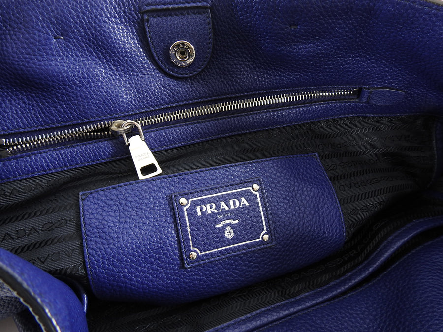 Prada Vitello Daino Large Blue Shopping Tote with Strap