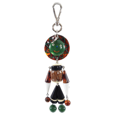 Prada Green and Brown Figural Beaded Key Ring / Bag Charm