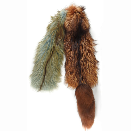 Prada Brown and Mint Green Fox Fur Stole Scarf