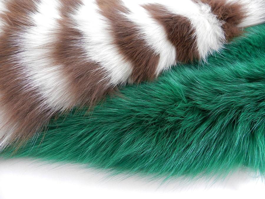 Prada Fall 2011 Green White Brown Striped Fox Fur Runway Scarf