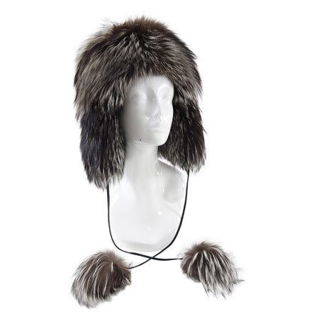 Prada Silver Fox Fur Trapper Hat with Pom Poms