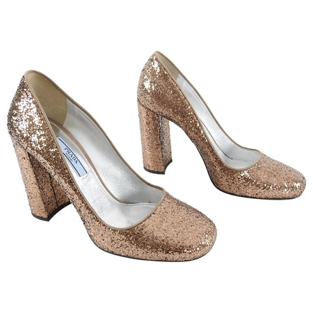 Prada Copper Glitter Sparkle Chunky Heel Pumps - 37.5