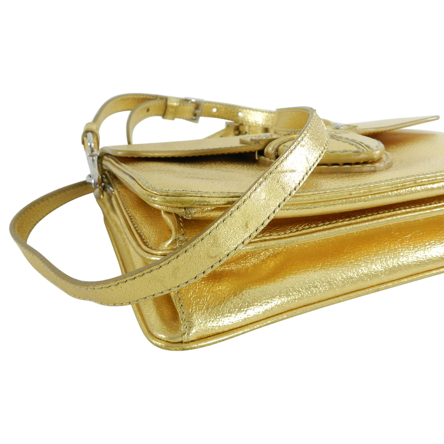 Prada Gold Metallic Small Crossbody Bag