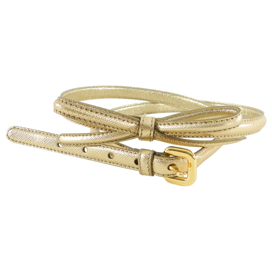 Prada Thin Gold Saffiano Leather Bow Belt
