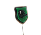 Prada Silvertone Stick Pin with Green and Black Helmet