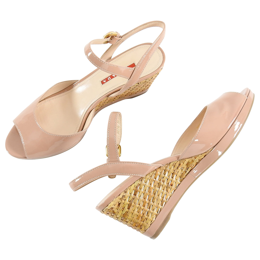 Prada Nude Patent Vernice Leather Woven Wedge Sandal - 39