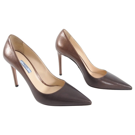 Prada Brown and Copper Ombre 100mm Pumps - 40