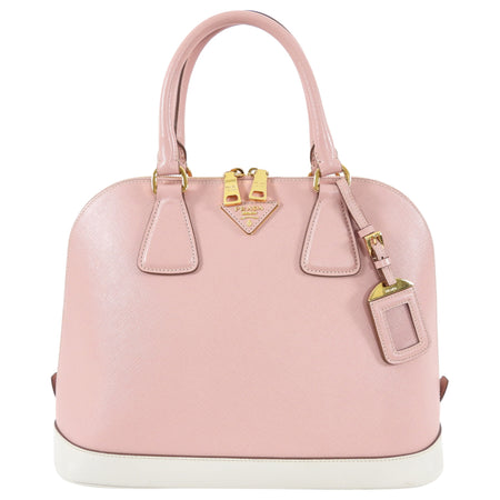 Prada Pink and White Saffiano Leather Promenade Bag