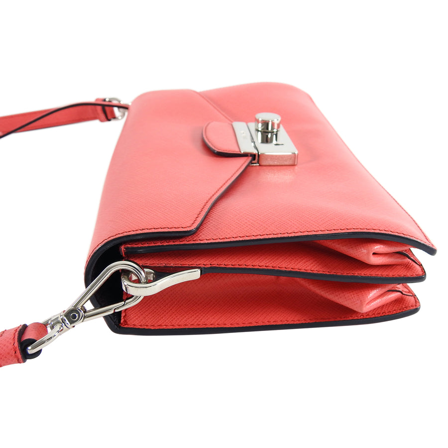 Prada Hot Pink Saffiano Lux Convertible 2 in 1 Sound Bag