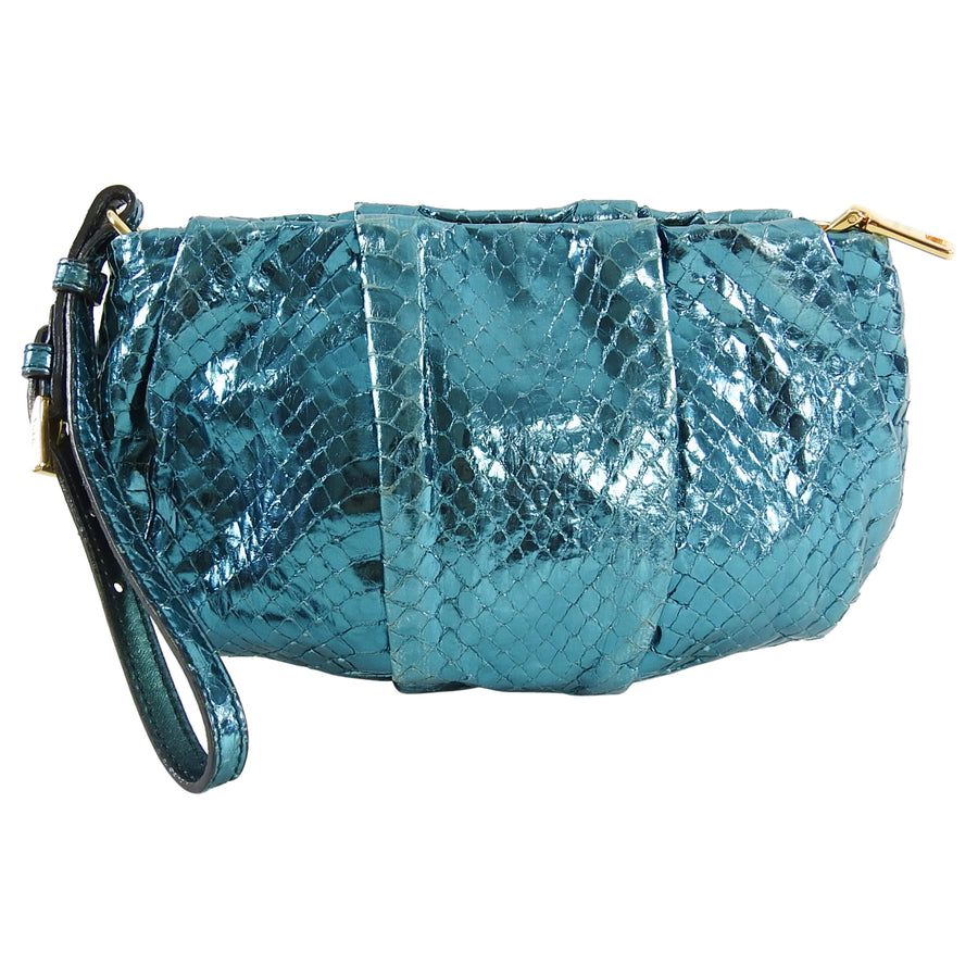 Prada Blue Metallic Small Python Wristlet Bag