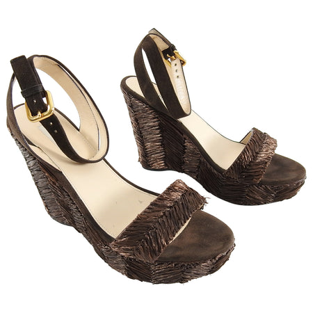 dfc3491970b7b Prada Brown Raffia Woven Wedge Sandals - 38