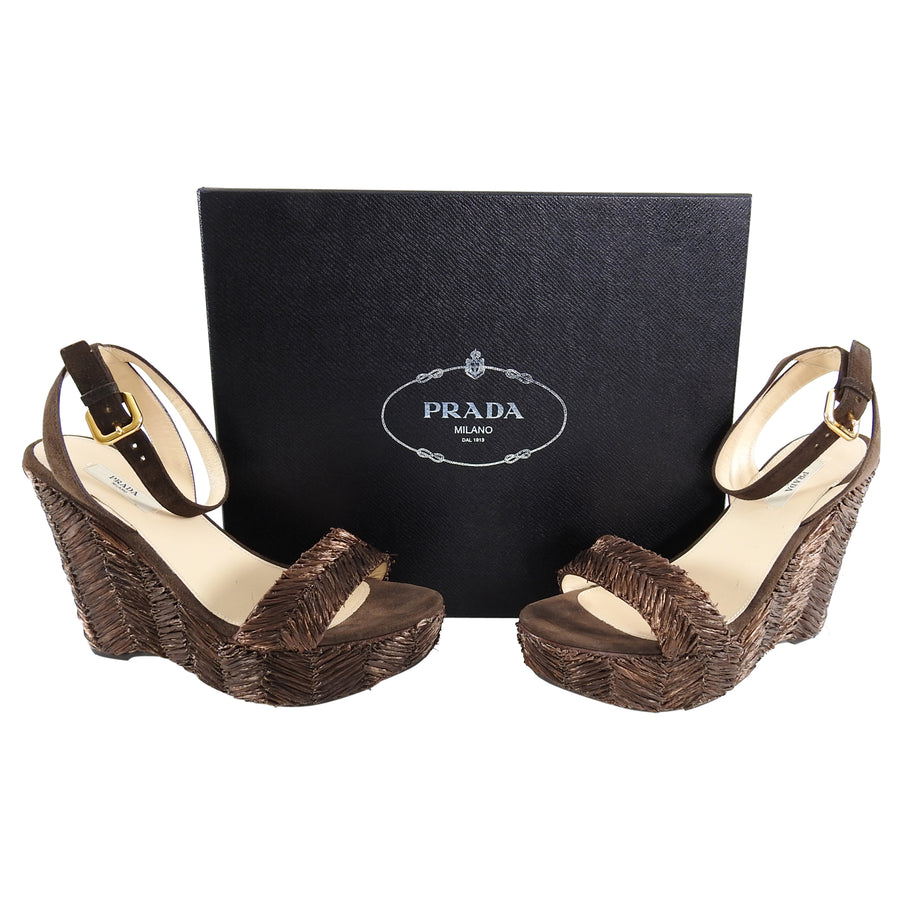 Prada Brown Raffia Woven Wedge Sandals - 38