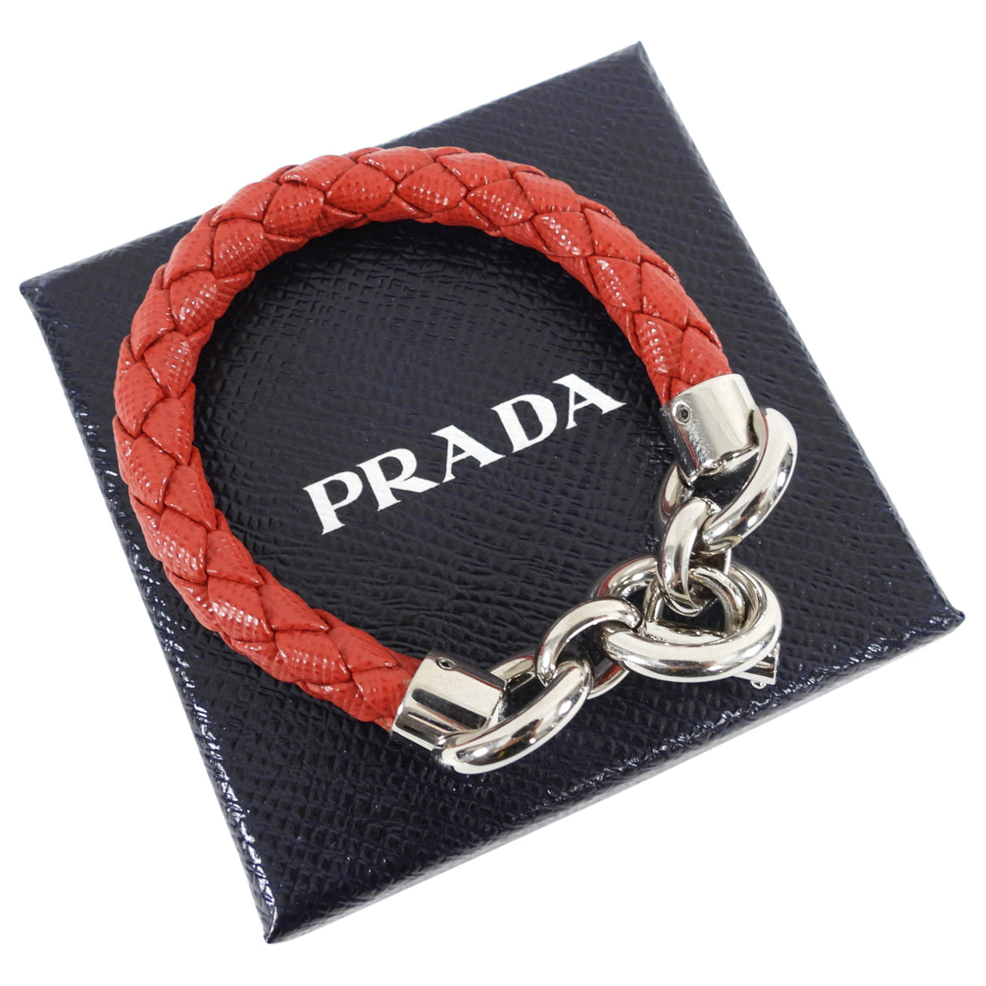 Prada Red Saffiano Leather Braided Toggle Bracelet