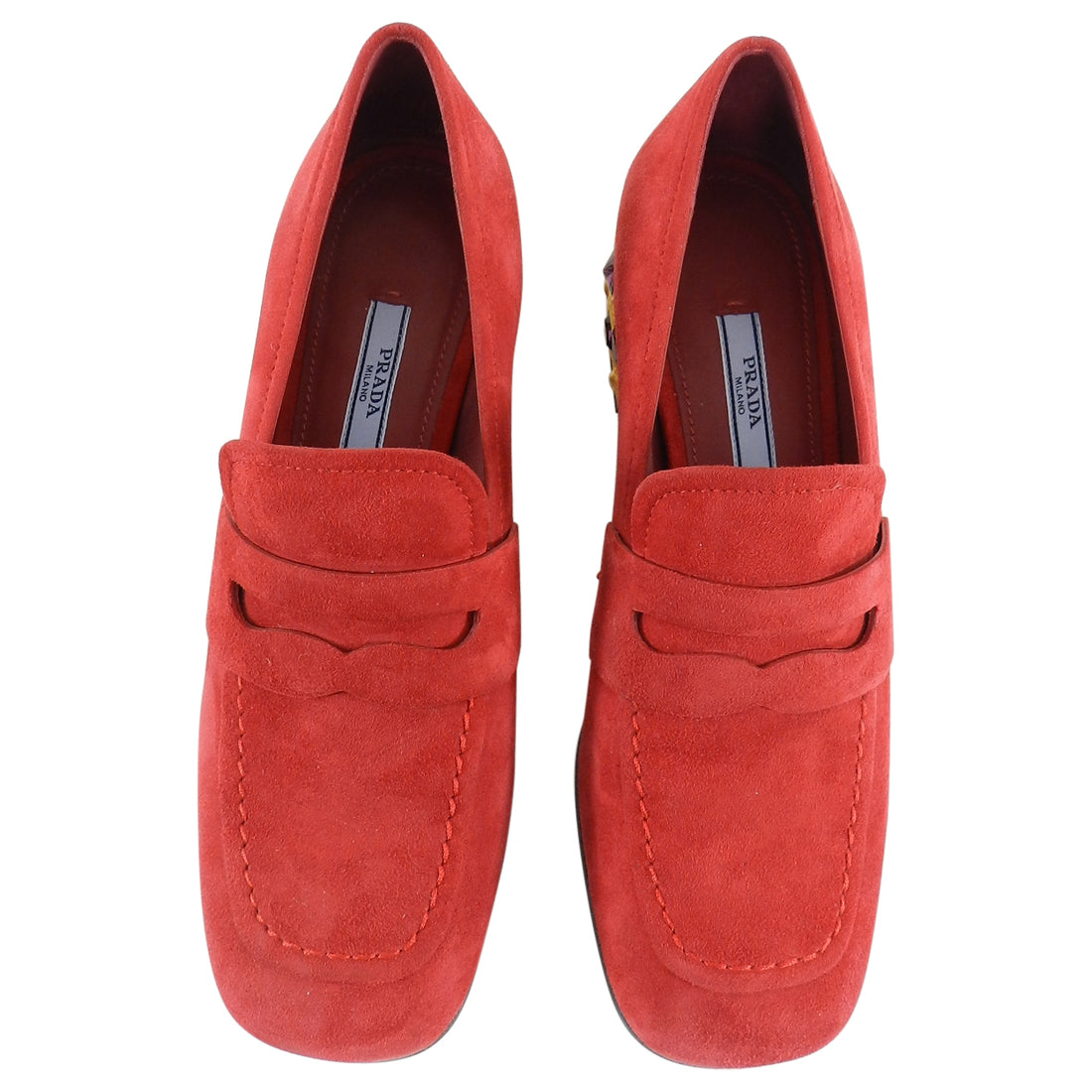Prada Red Suede Loafer with Gold Metal Jewel Heels - 37.5