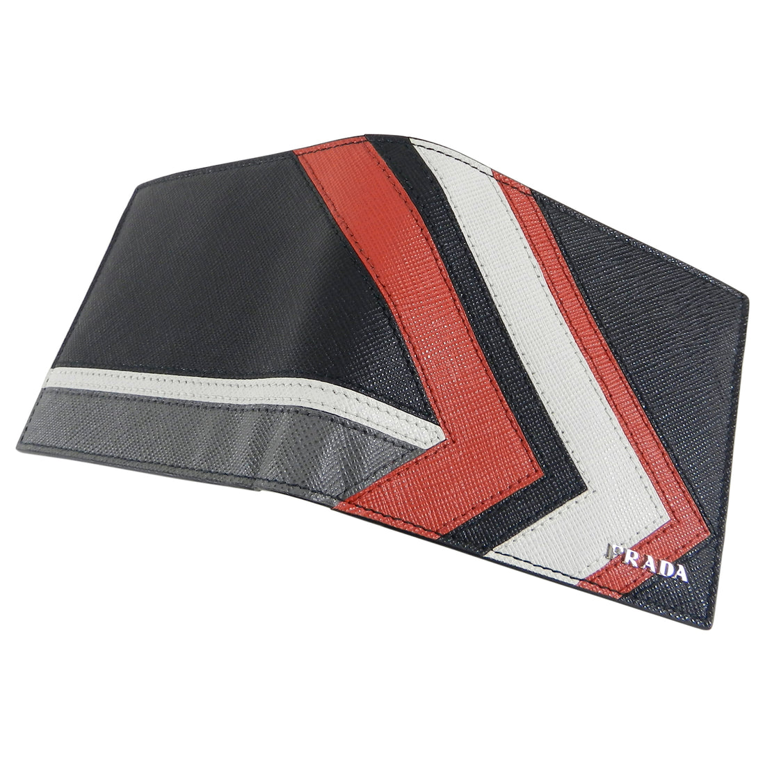 Prada Black, Red, Grey, White, Chevron Bifold Saffiano Leather Wallet