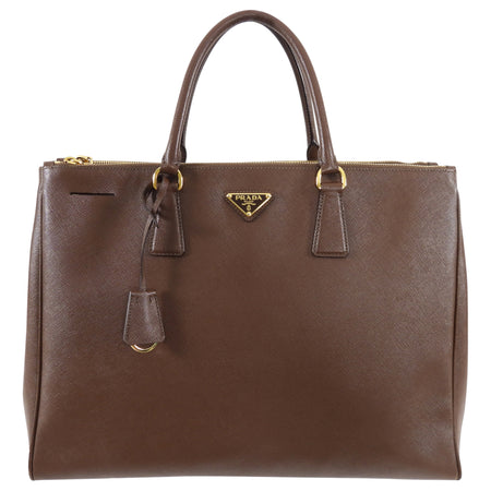 Prada Large Brown Saffiano Leather Double Galleria Tote Bag