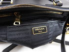 Prada Saffiano Lux Double Zip Black Nero Tote Bag