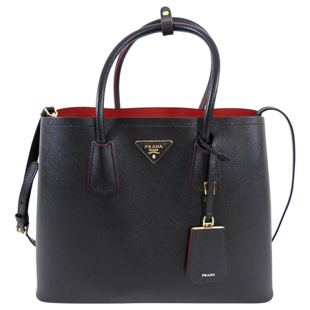 Prada Black Saffiano Leather Large Double Tote Bag