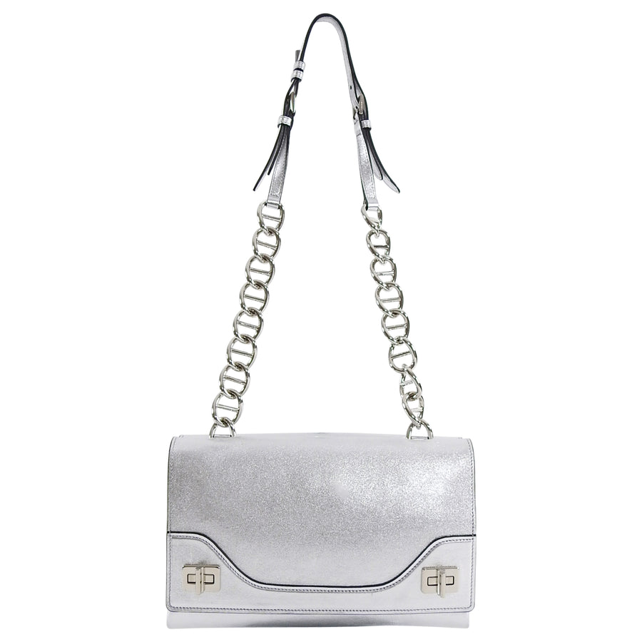 Prada Silver Metallic Fall 2014 Runway Chain Bag