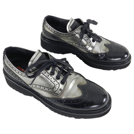 Prada Silver and Black Oxford Brogue Shoes - 6.5