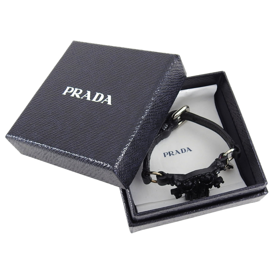 Prada Black Saffiano Leather Bead Skull Charm Bracelet