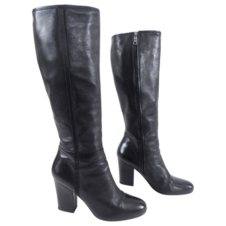 Prada Tall Leather Boots with Nylon Logo Band - 39 / 8.5