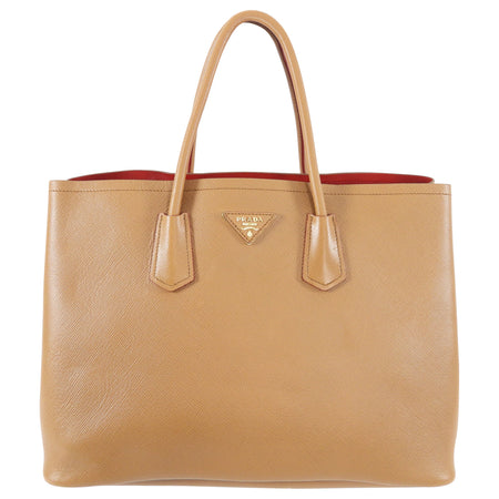 Prada Double Tote Bag Large in Tan Saffiano Leather