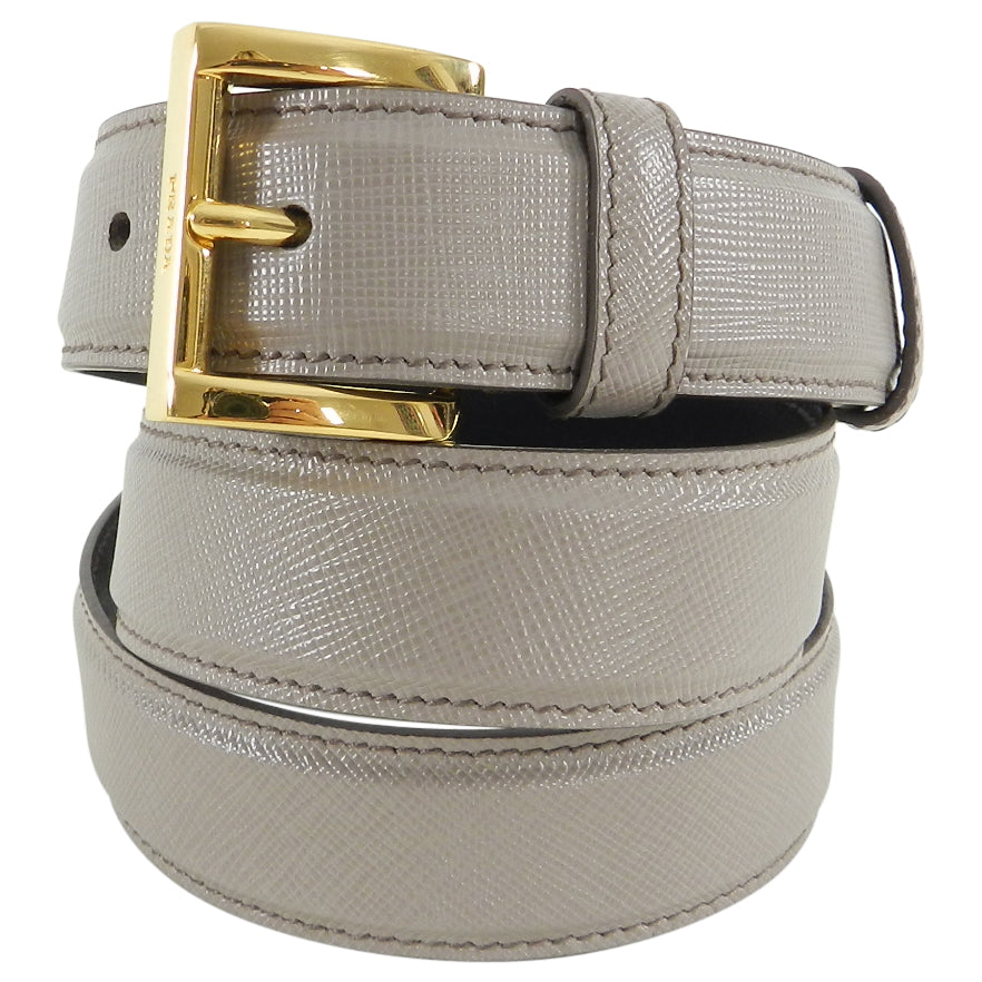 Prada Taupe Saffiano Leather Belt with Gold Buckle