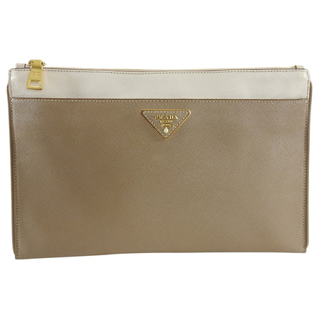 Prada Saffiano Bicolor Zippered Clutch Pouch Bag