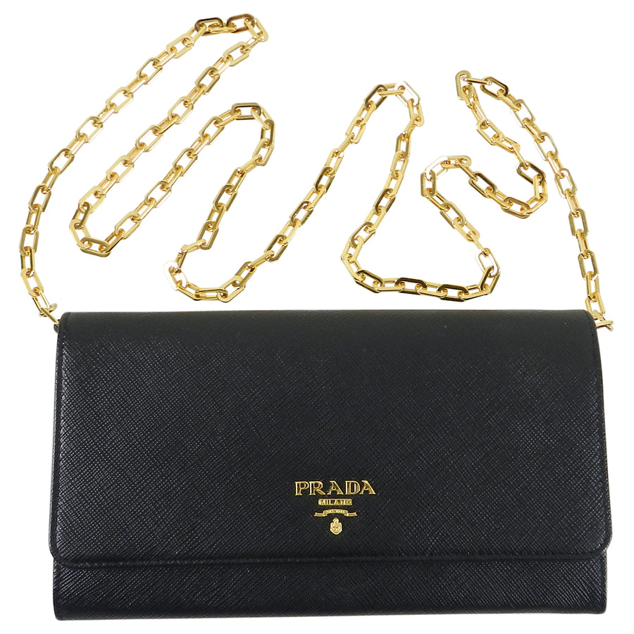 Prada Black Saffiano Leather Wallet on Chain Bag
