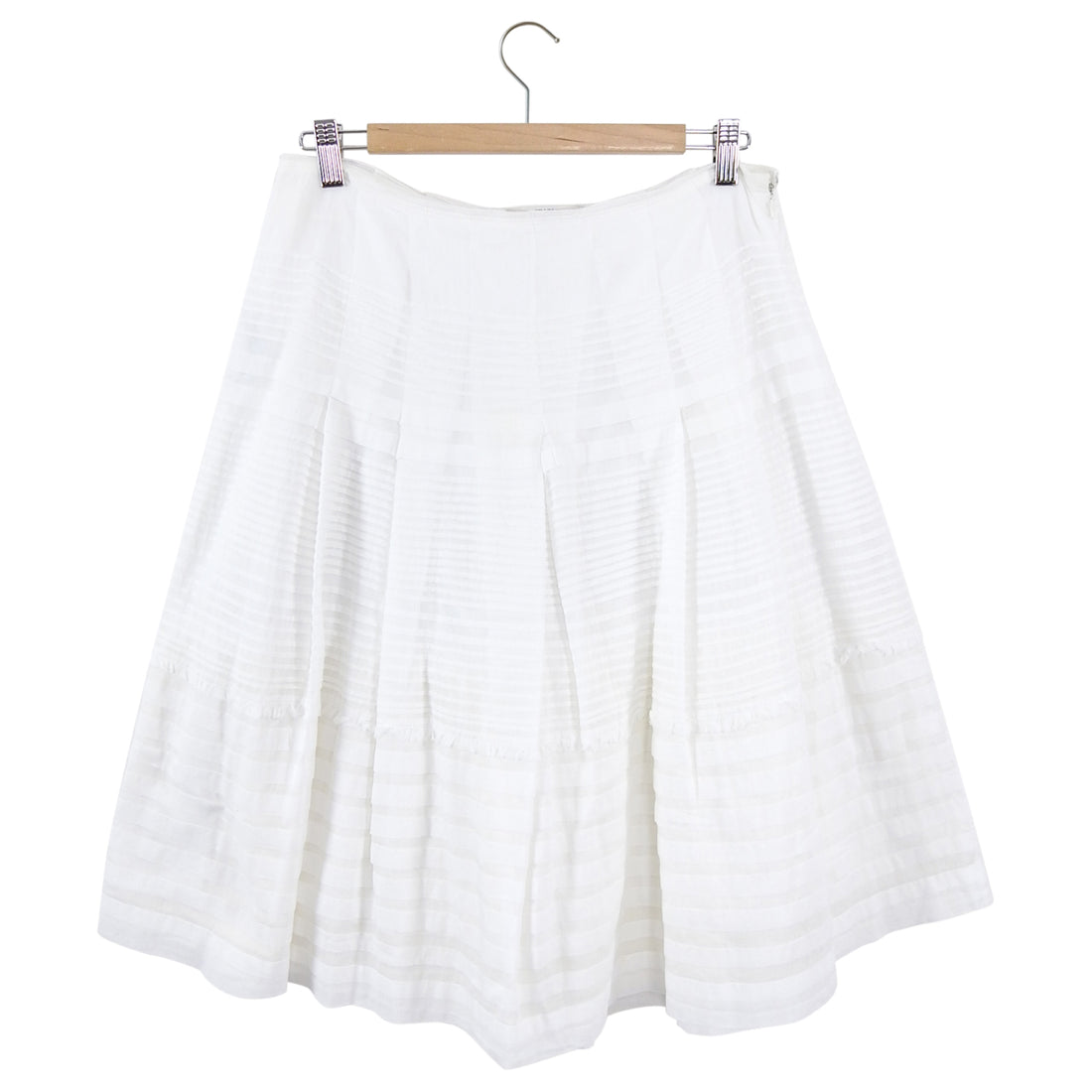 Prada White Cotton Flare Knee Length Skirt - L (8/10)