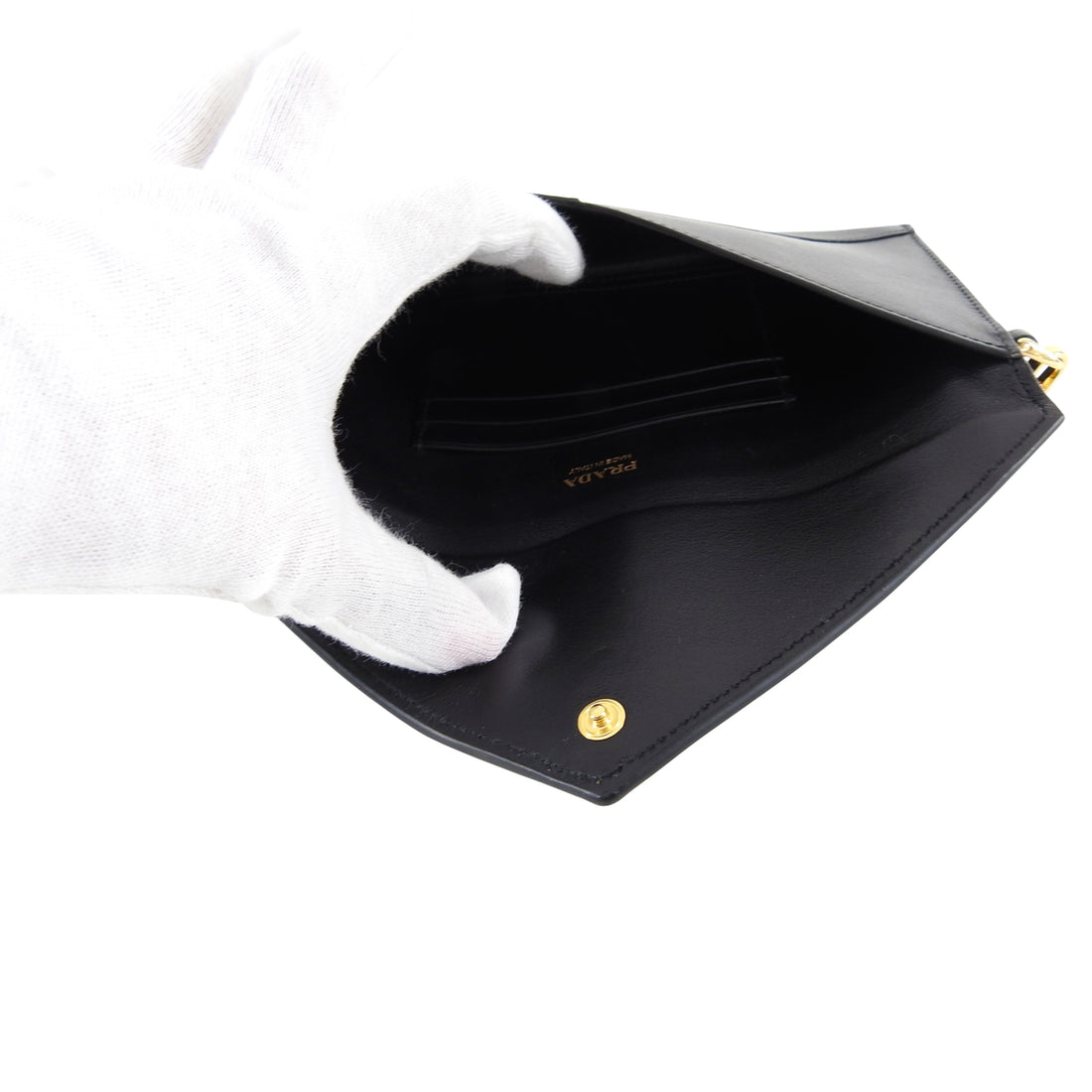 Prada Black Saffiano Envelope Wallet On Chain Wristlet