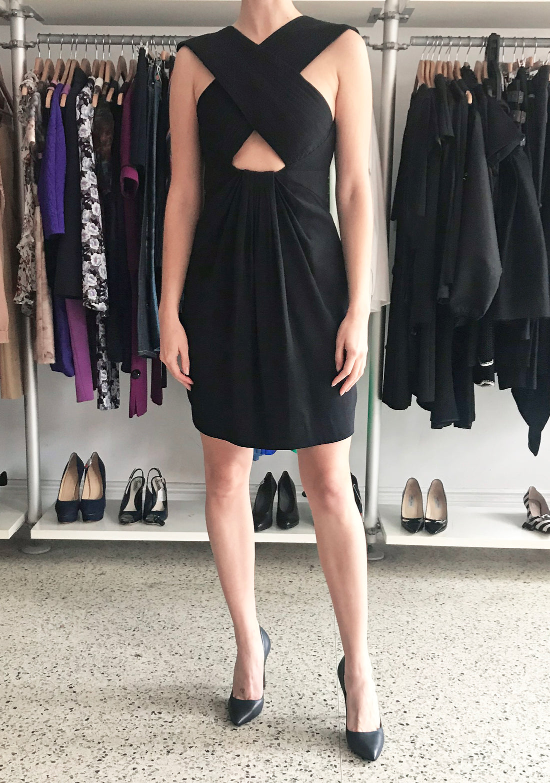 Proenza Schouler Black Cross Over Cut Out Cocktail Dress - 6