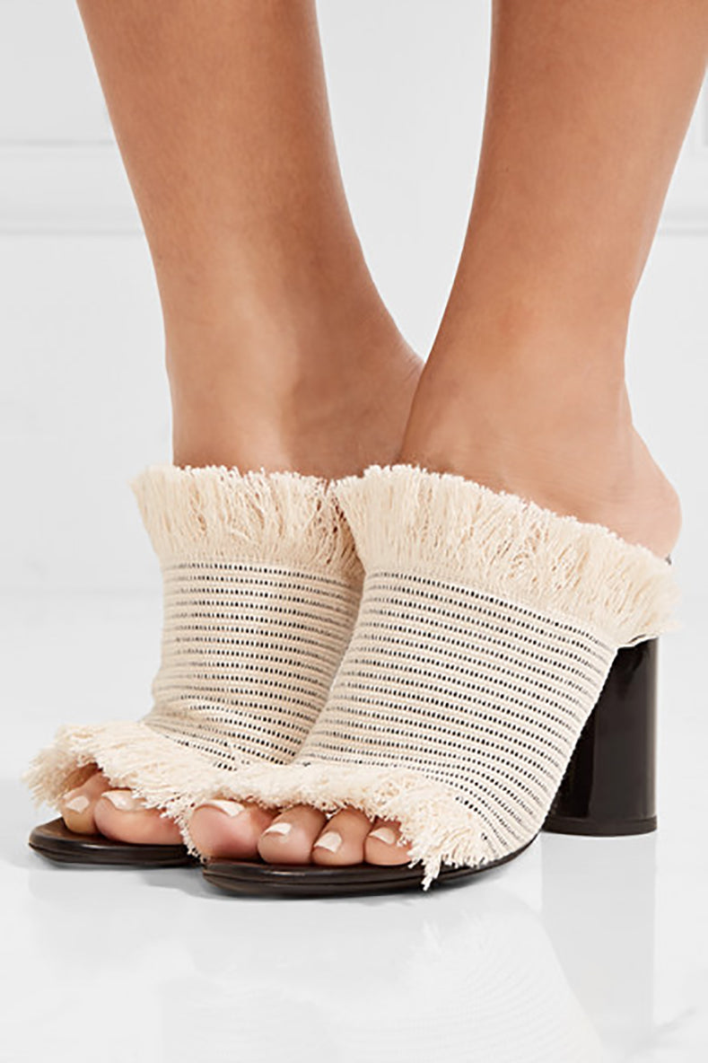 Proenza Schouler Raw Canvas Fringe High Heel Mules - 38.5