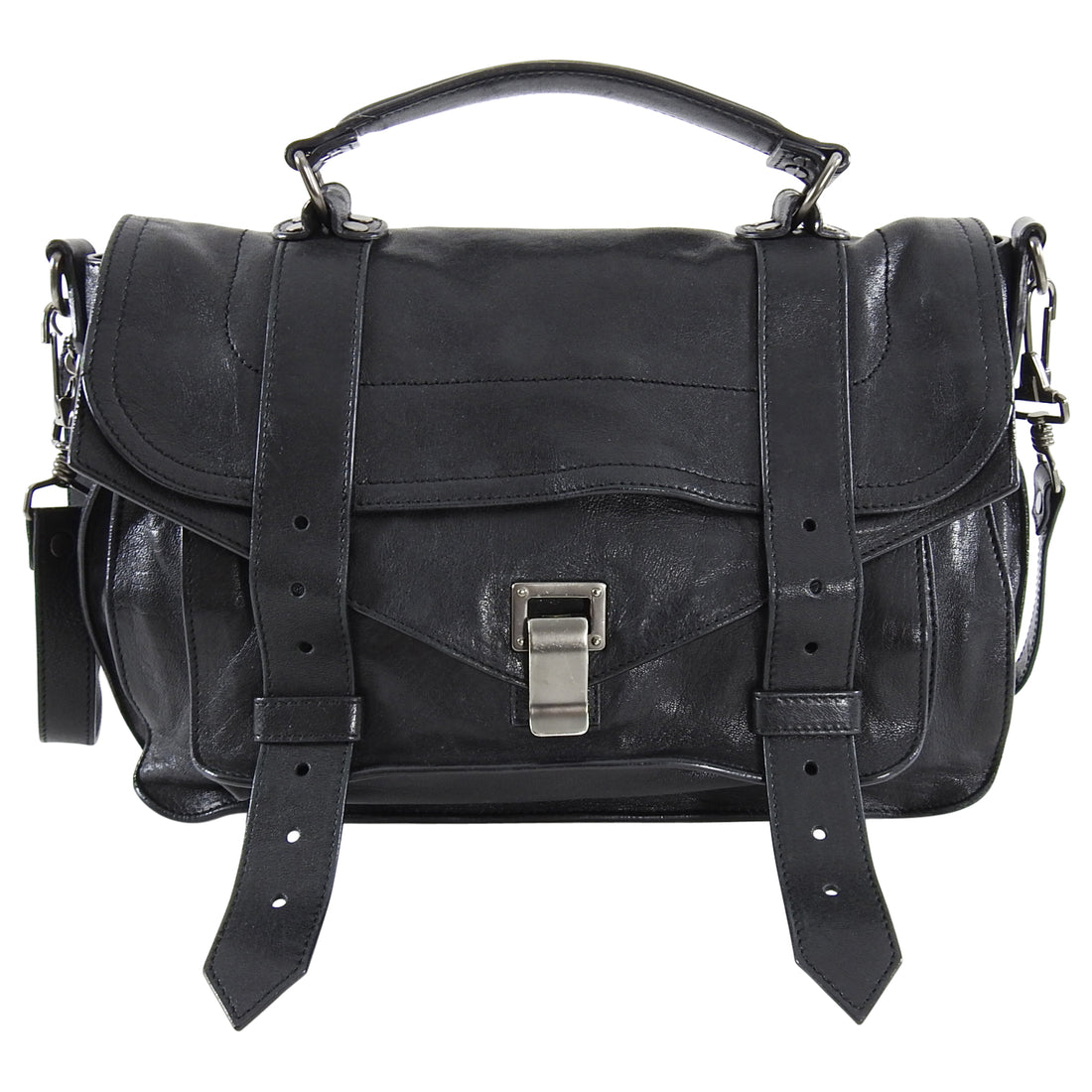 Proenza Schouler PS1 Medium Black Leather Bag